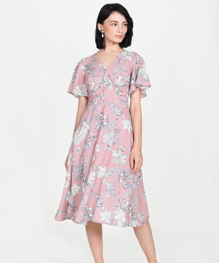 Antoinette Floral Midi - Pink