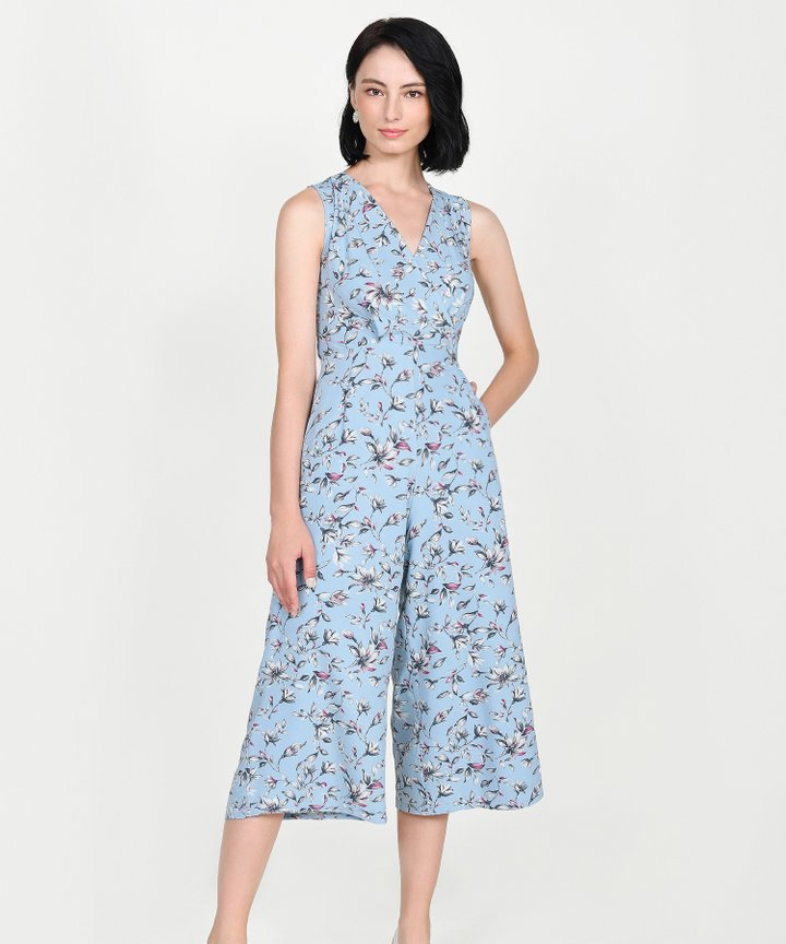 Athens Floral Wrap Jumpsuit - Pale Blue