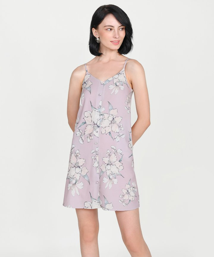 Ipanema Floral Slip Dress - Pale Lavender