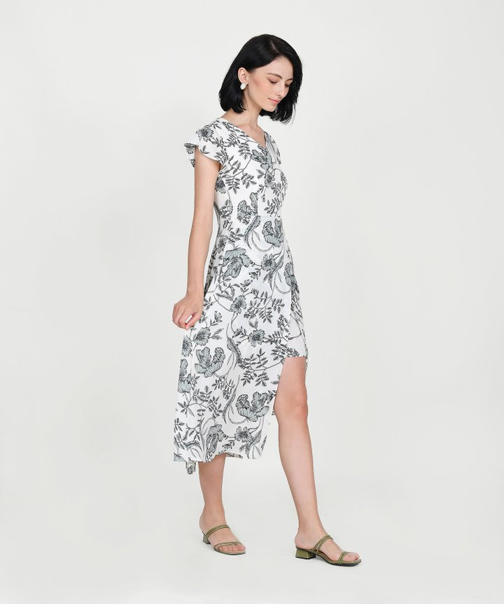 Alaia Floral Overlay Maxi - Off-White