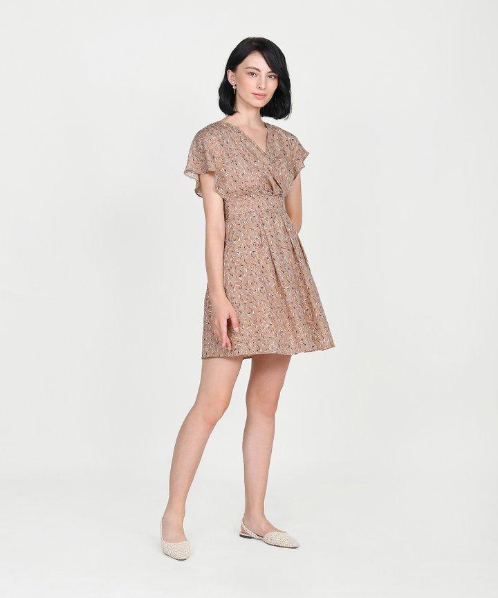 Ayame Printed Kimono Dress - Rose Tan