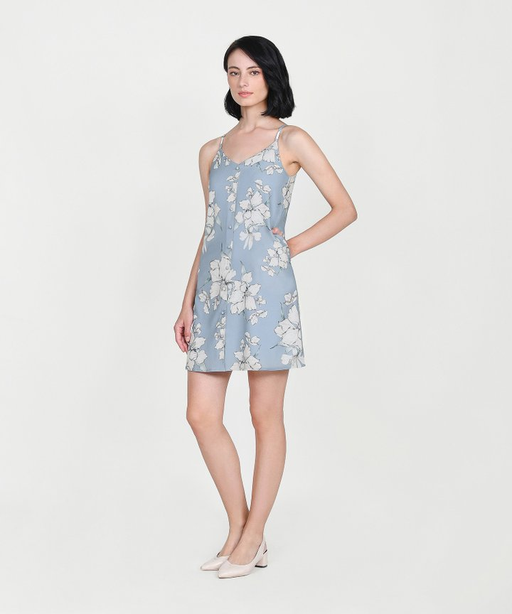 Ipanema Floral Slip Dress - Sky Blue