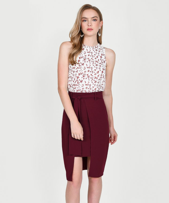Philosophy Asymmetric Skirt - Maroon