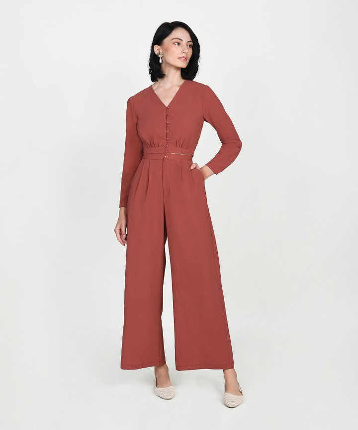 Yuri Cropped Blouse - Redwood