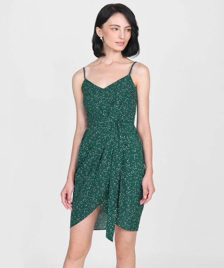Sierra Polka Dot Dress - Forest Green