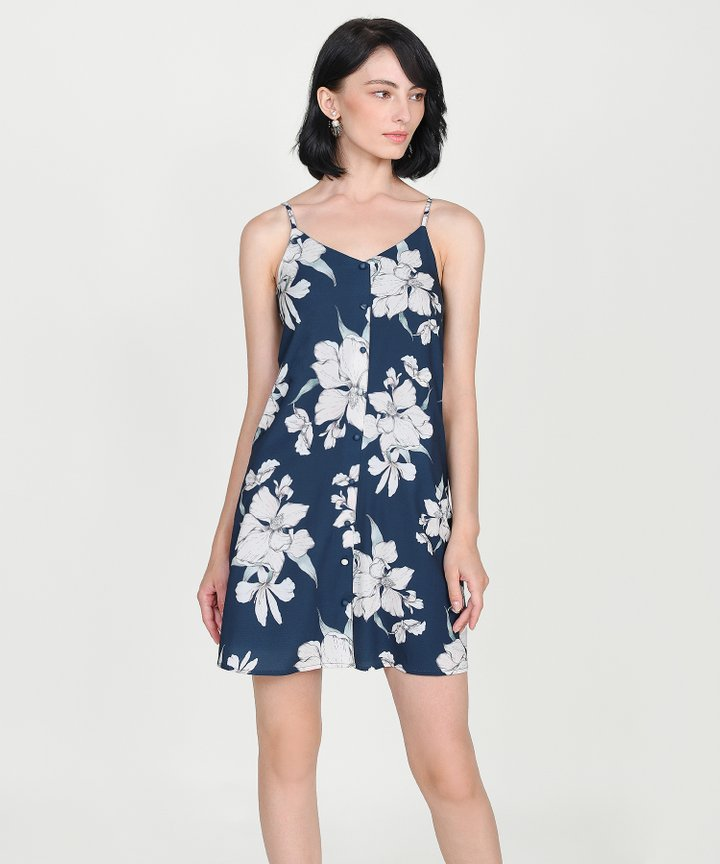 Ipanema Floral Slip Dress - Midnight Blue