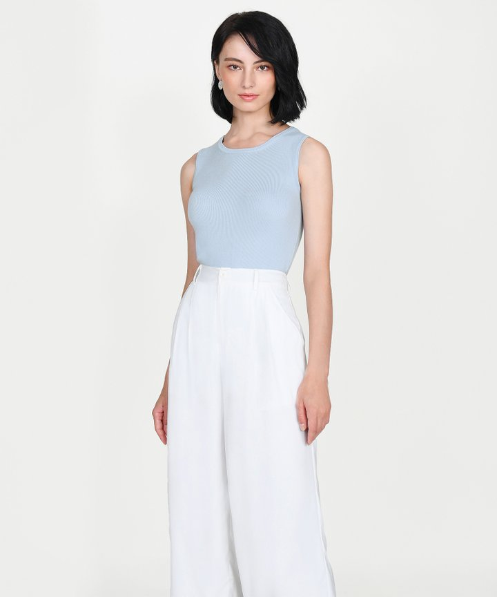 Ines Basic Knit Top - Pale Blue