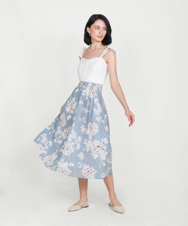 Cassis Floral Midi Skirt - Pale Blue