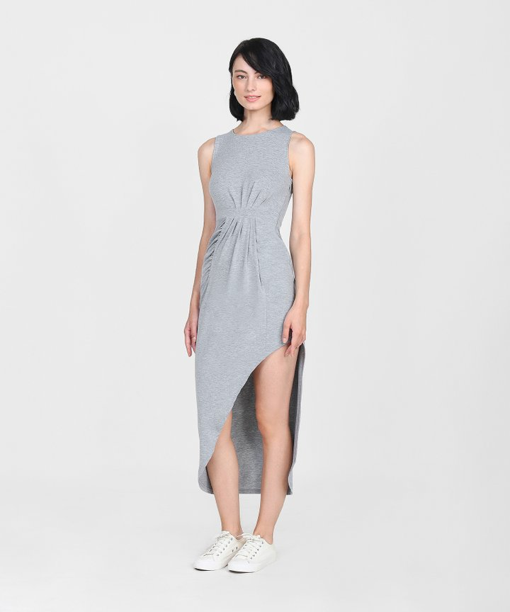 Empire Ruched Maxi Dress - Heather Grey