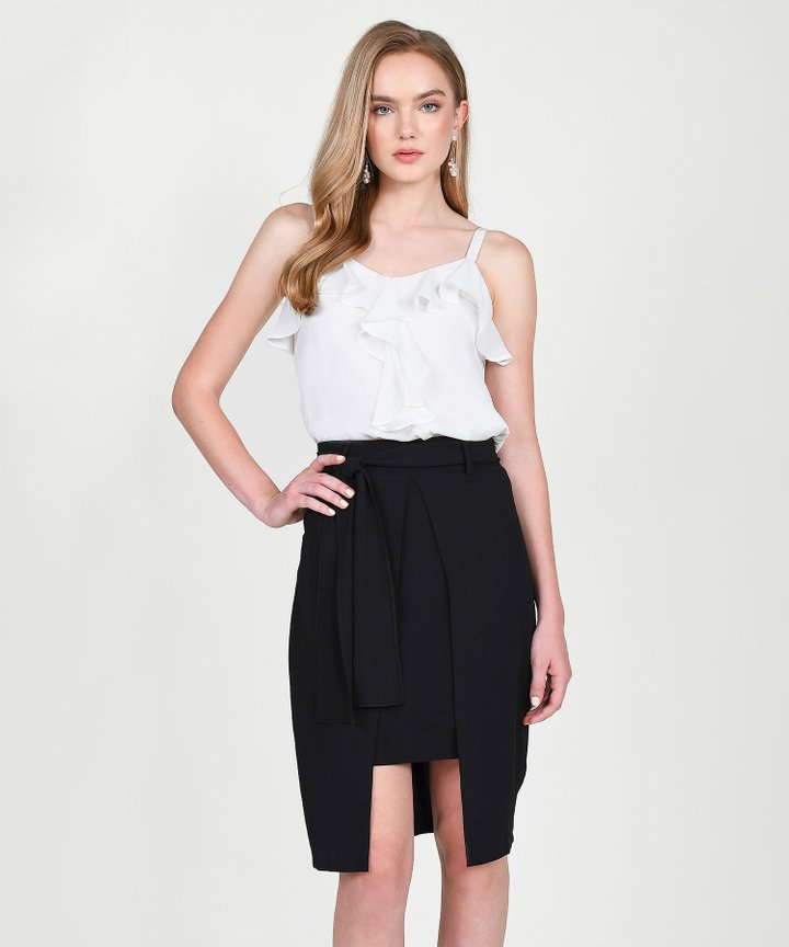 Keira Ruffle Top - White
