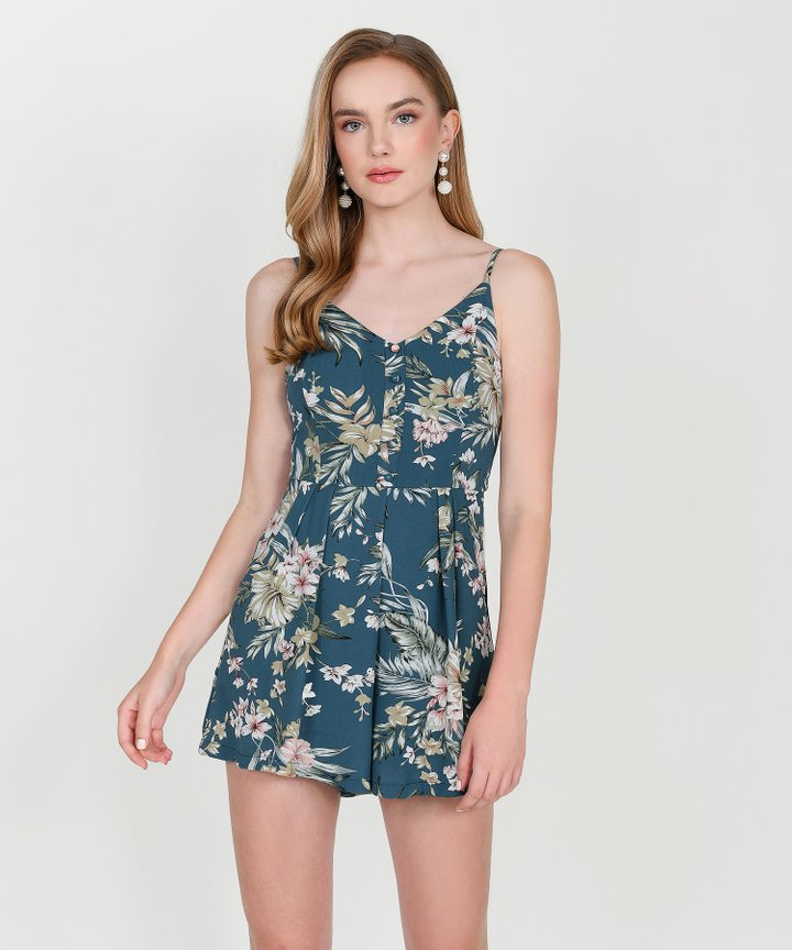 Palm Springs Floral Playsuit - Teal Blue