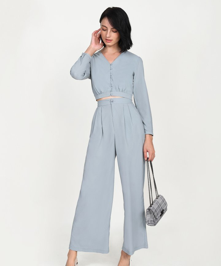 Yuri Cropped Blouse - Mist Blue