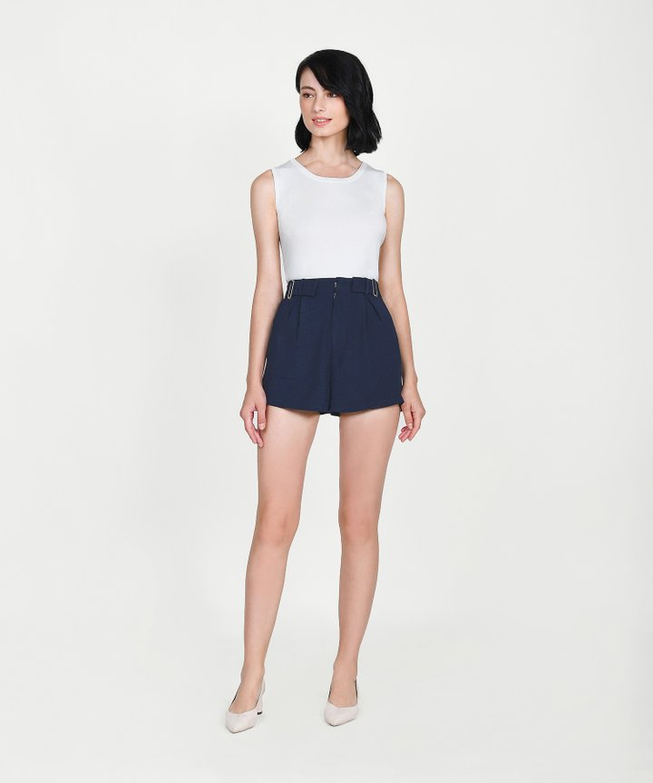 Viola Buckle Shorts - Midnight Blue