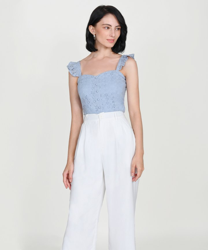 Willa Eyelet Ruffle Top - Pale Iris