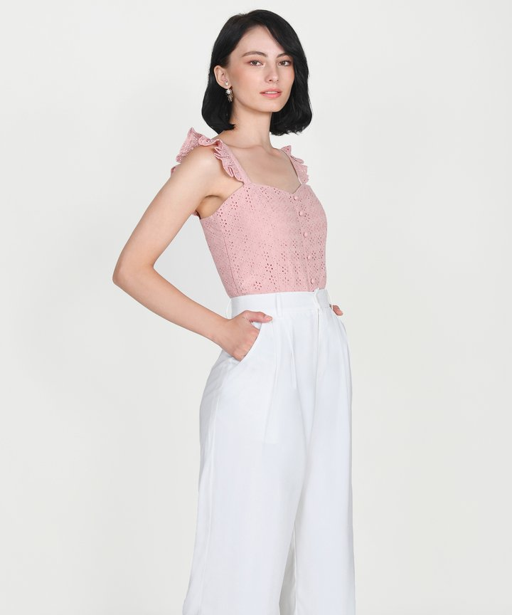 Willa Eyelet Ruffle Top - Blush Pink