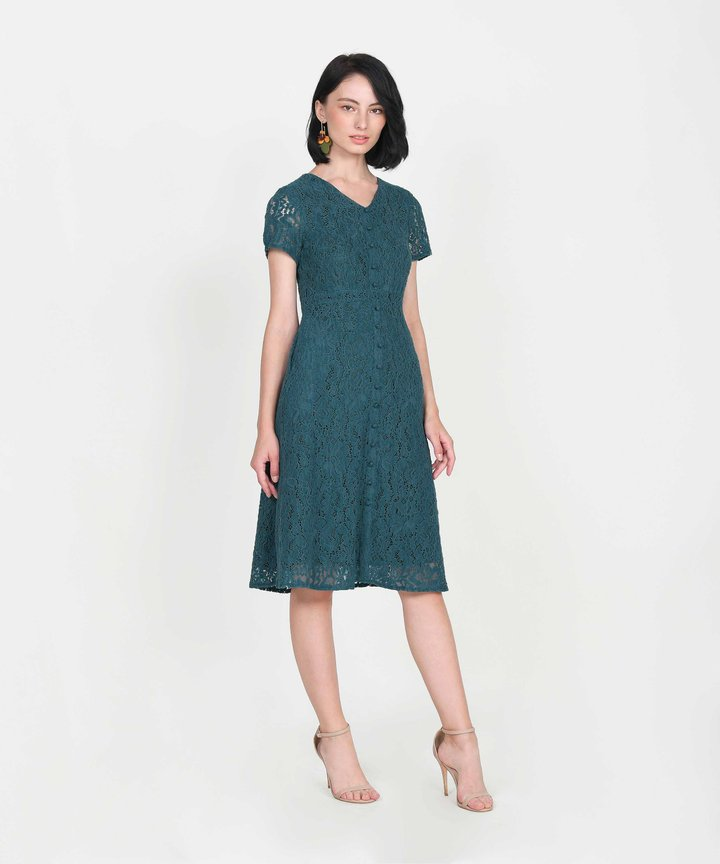 Silverlake Lace Midi Dress - Teal