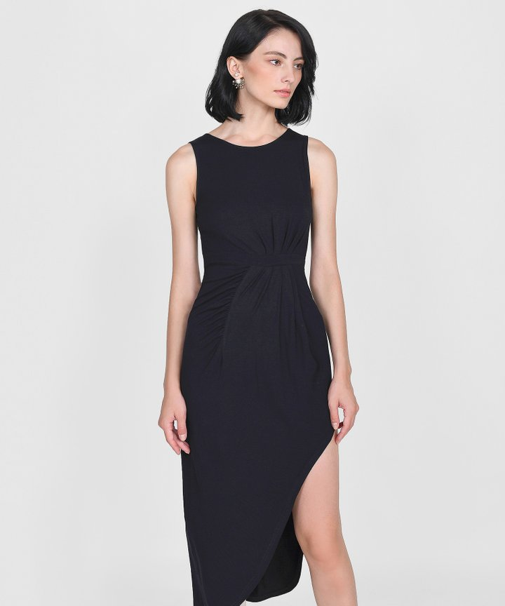 Empire Ruched Maxi - Black