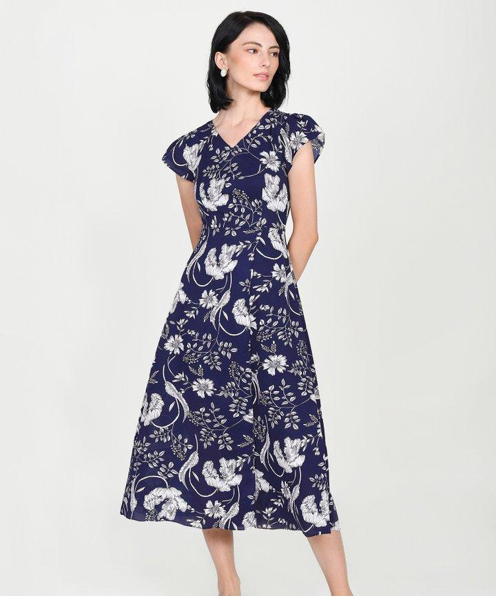 Alaia Floral Overlay Maxi - Navy