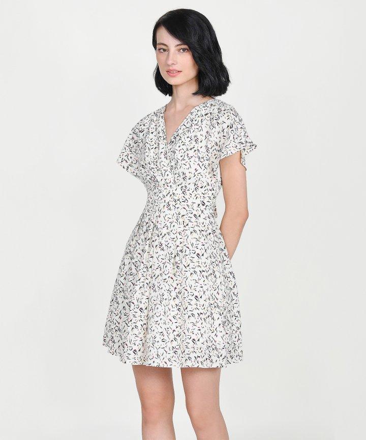 Ayame Printed Kimono Dress - White