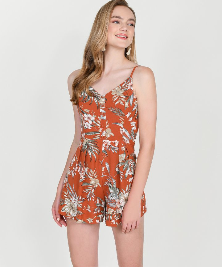 Palm Springs Floral Playsuit - Burnt Orange
