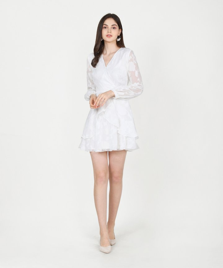 Lucienne Textured Ruffle Dress - White