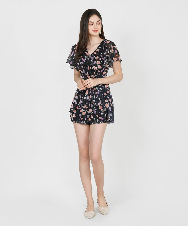 Arwen Printed Overlay Playsuit - Black