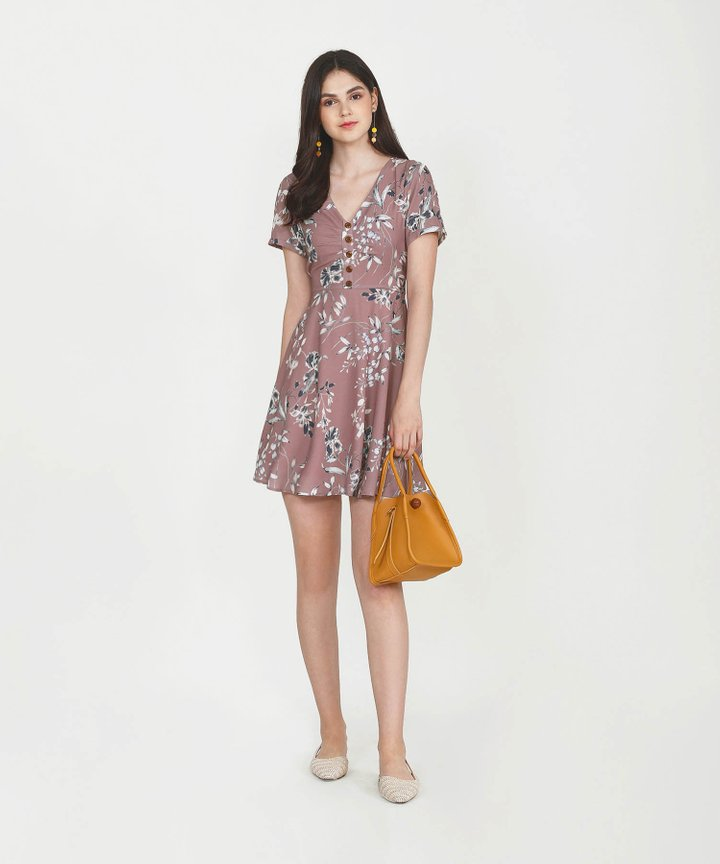 Maisie Floral Dress - Dust Rose