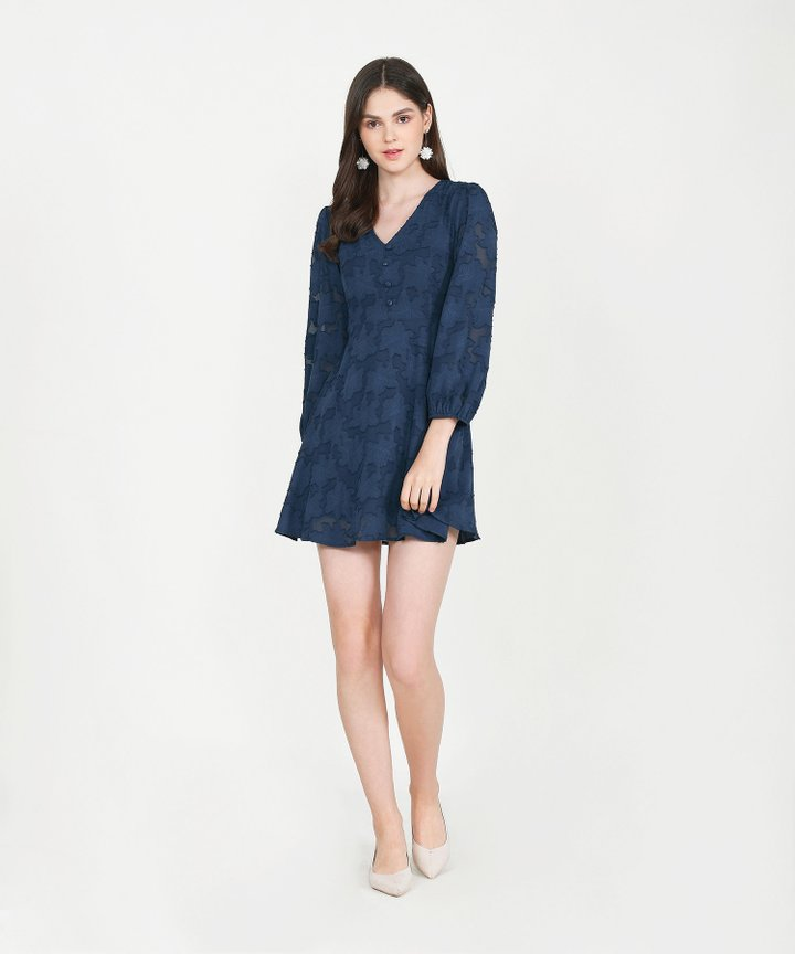 Cannes Chiffon Jacquard Dress - Midnight Blue