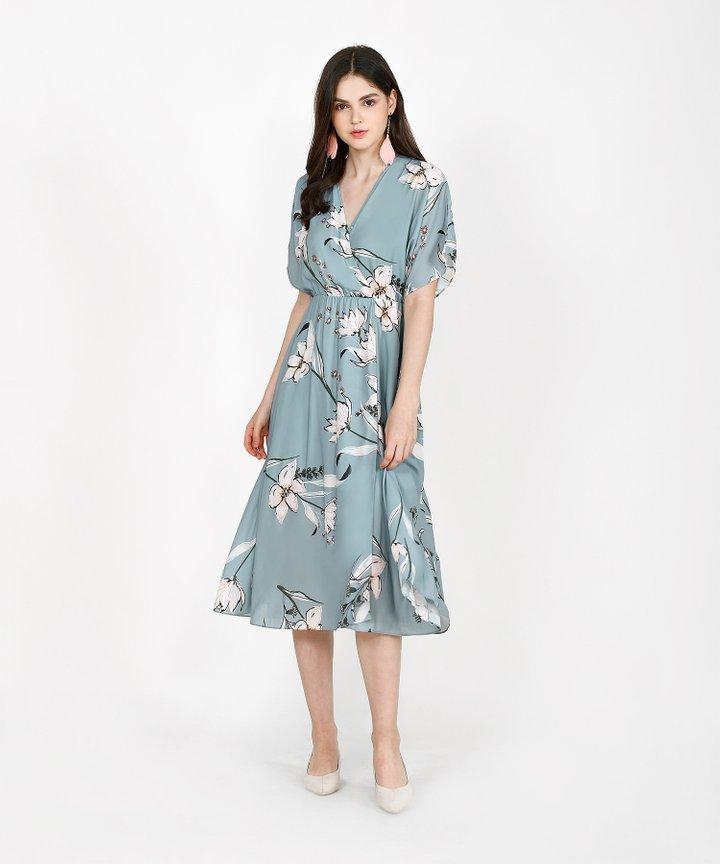 Katrina Floral Kimono Midi - Turquoise