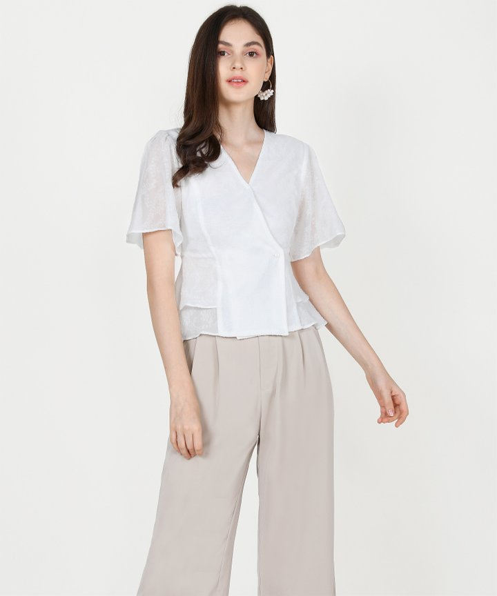 Teigen Textured Blouse - White