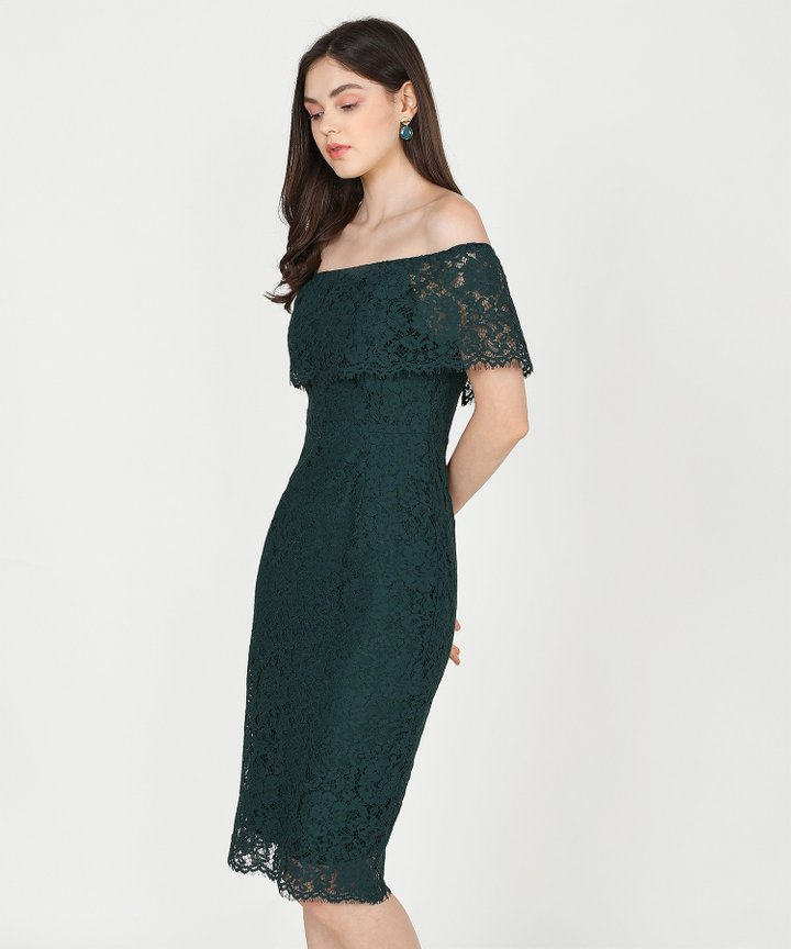 Marie Lace Off-Shoulder Midi - Forest Green