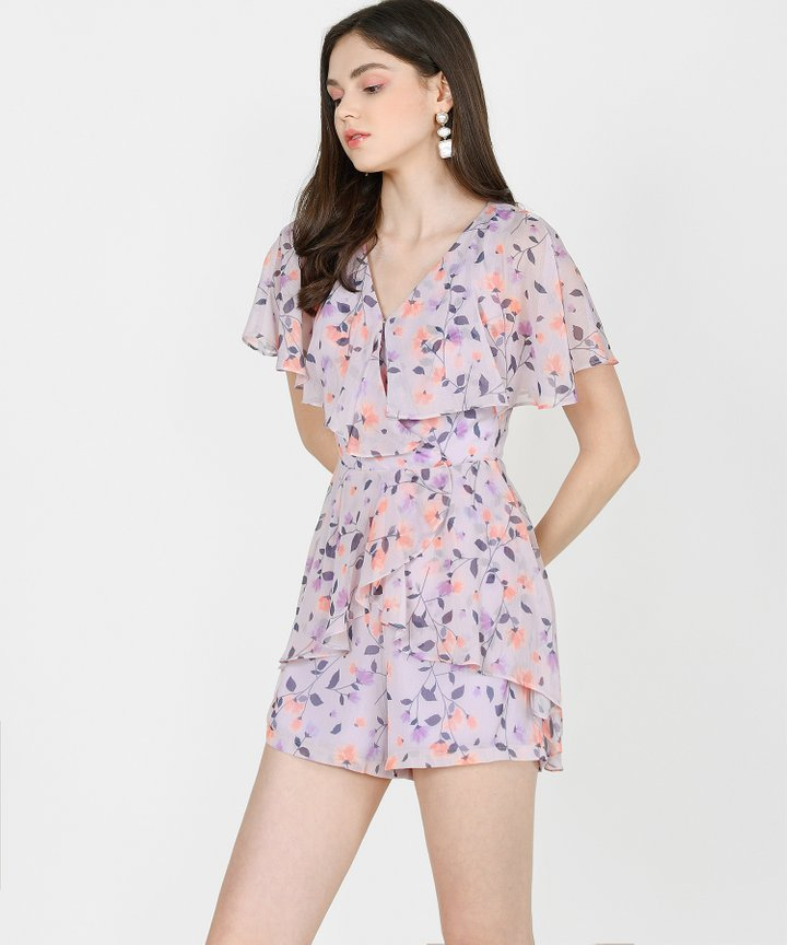 Arwen Printed Overlay Playsuit - Pale Lilac