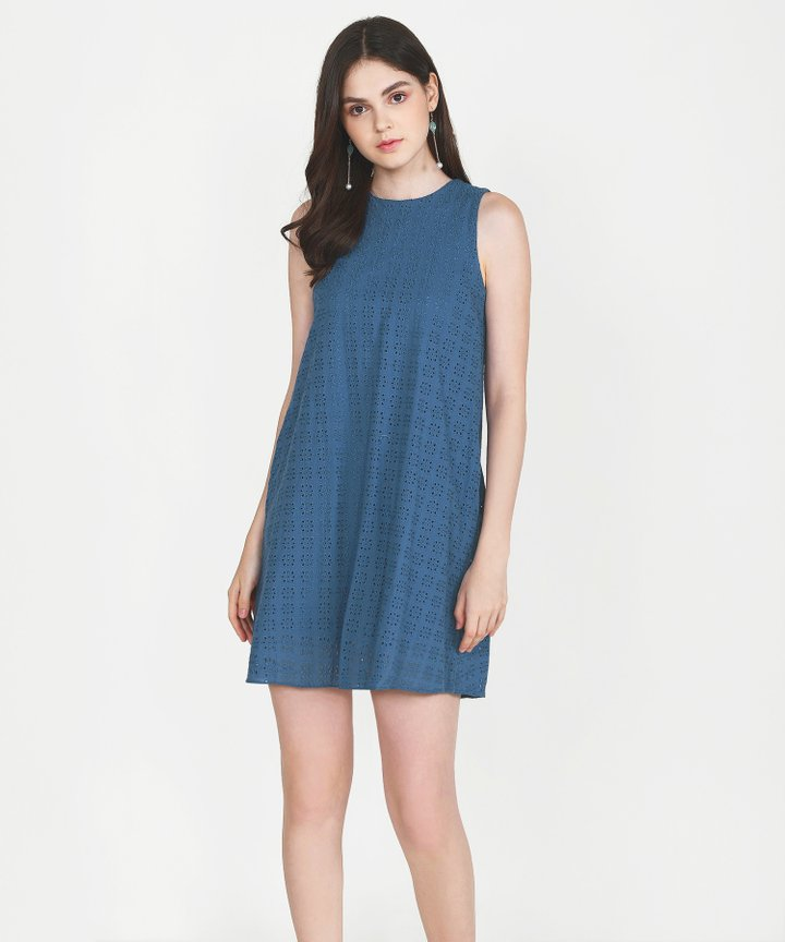 Basque Eyelet Shift Dress - Steel Blue
