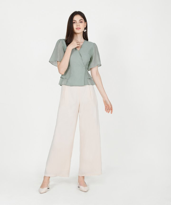 Teigen Textured Blouse - Pale Seafoam