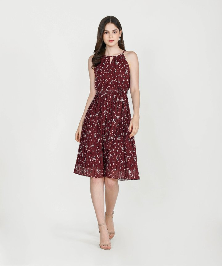 Iman Floral Pleated Midi - Wine