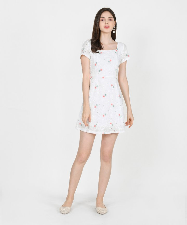 Ines Floral Embroidered Dress - Pink (Restock)