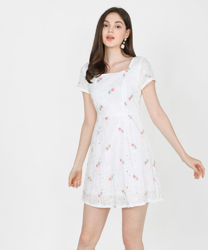 Ines Floral Embroidered Dress - Pink (Backorder)