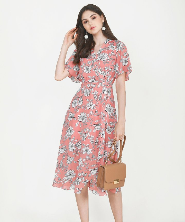 Laurent Floral Overlay Midi - Coral Pink