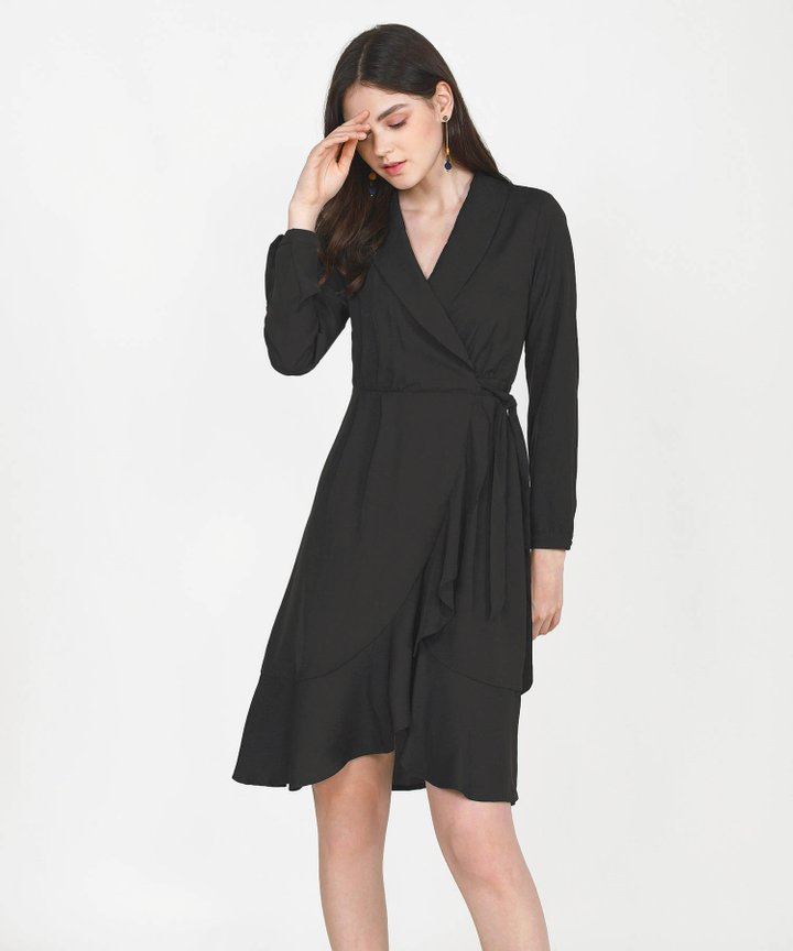 Melisse Wrap Midi Dress - Black