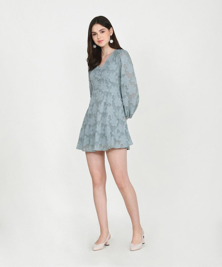 Cannes Chiffon Jacquard Dress - Dust Turquoise