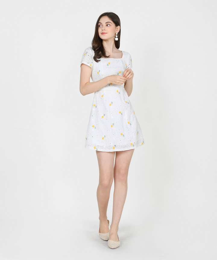 Ines Floral Embroidered Dress - Yellow
