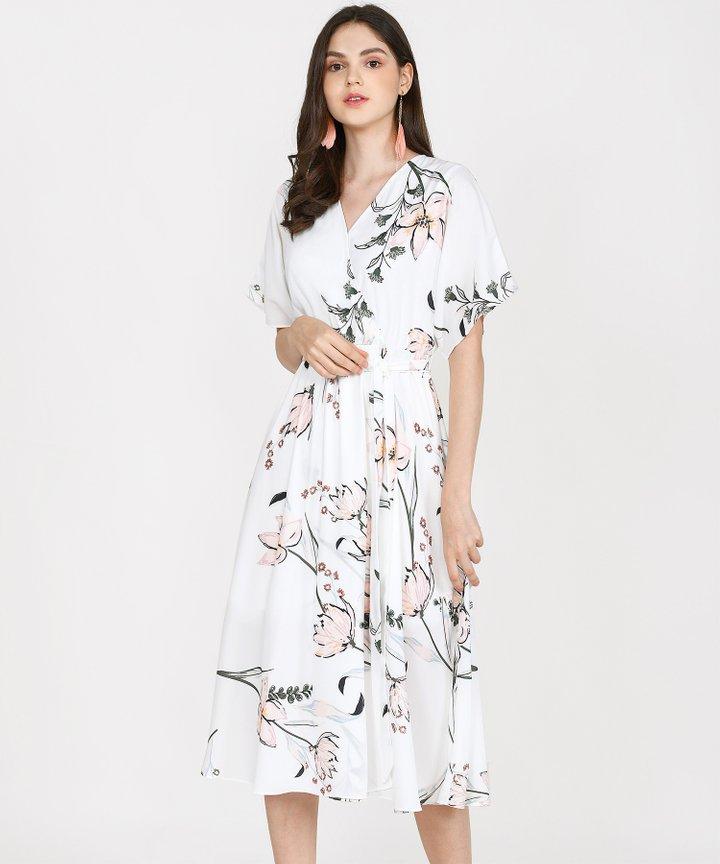 Katrina Floral Kimono Midi - White