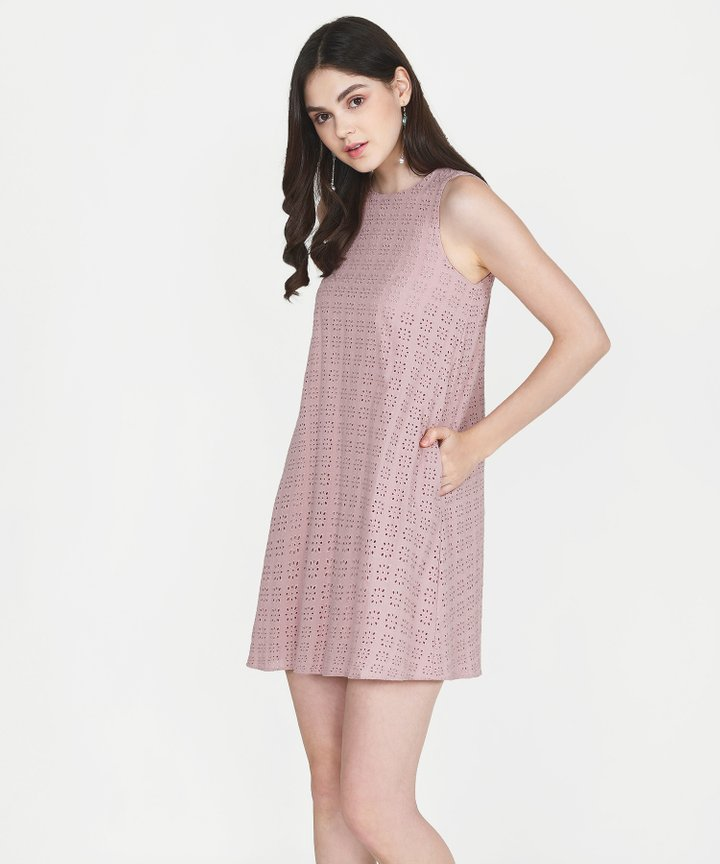 Basque Eyelet Shift Dress - Blush