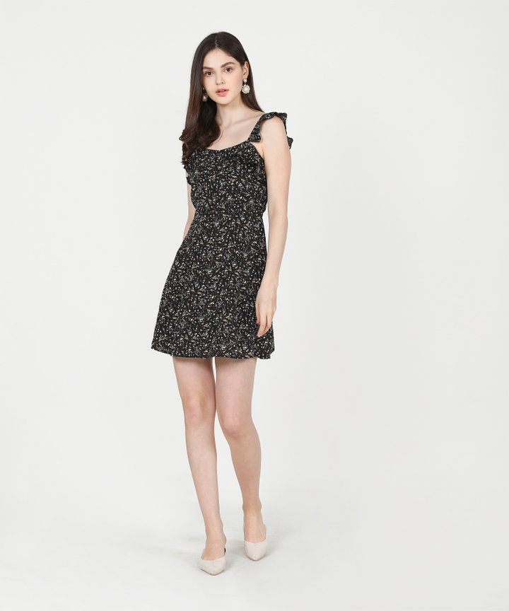 Colette Floral Ruffle Dress - Black