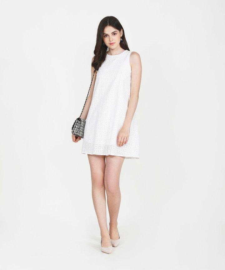 Basque Eyelet Shift Dress - White