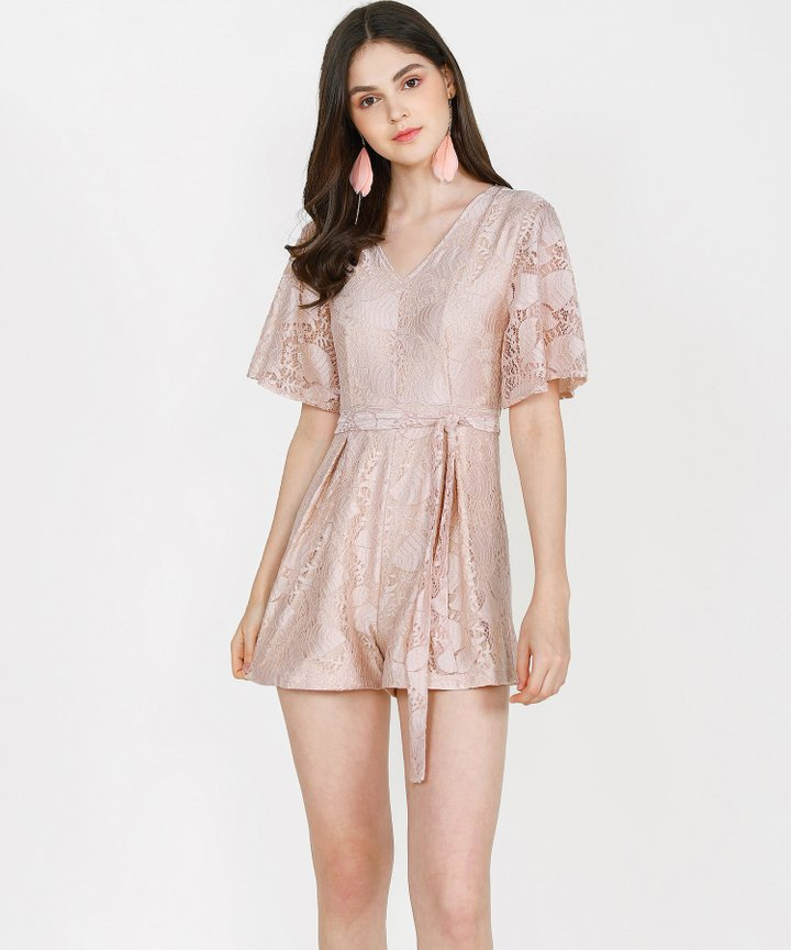 Anisse Lace Playsuit - Rose Beige (Restock)