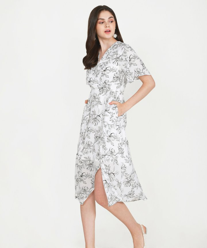 Laurent Floral Overlay Midi - White