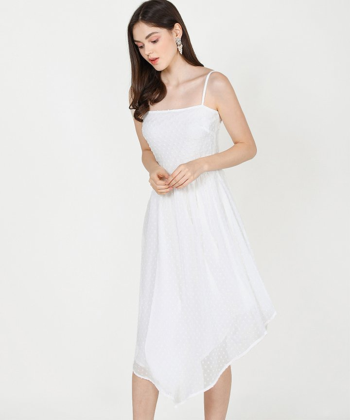 Chiara Textured Asymmetrical Midi Dress - White