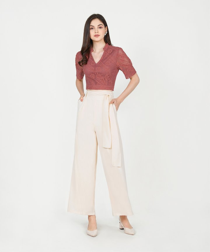 Tallulah Lace Cropped Top - Redwood