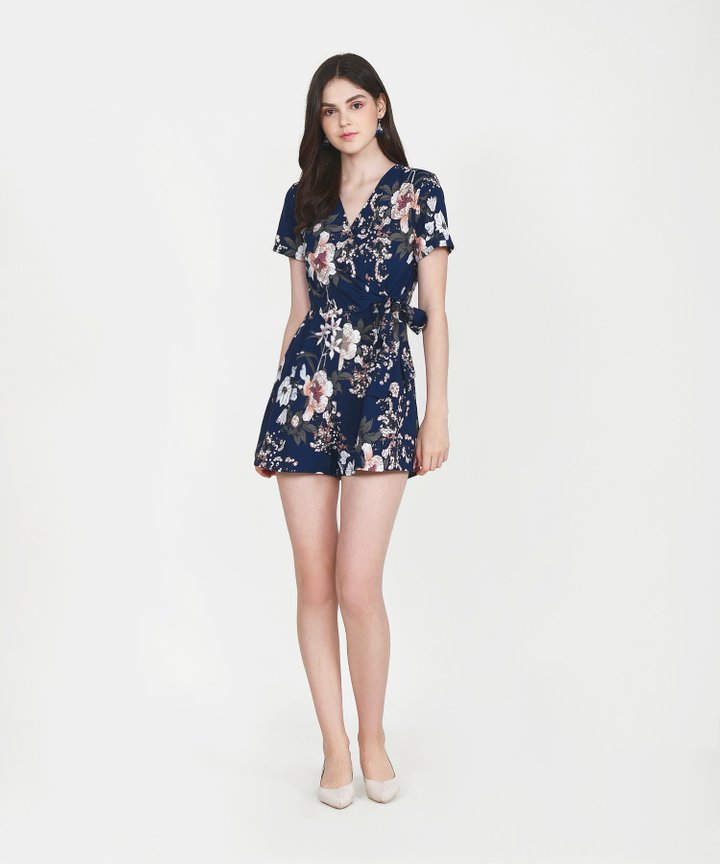 Tory Floral Playsuit - Navy